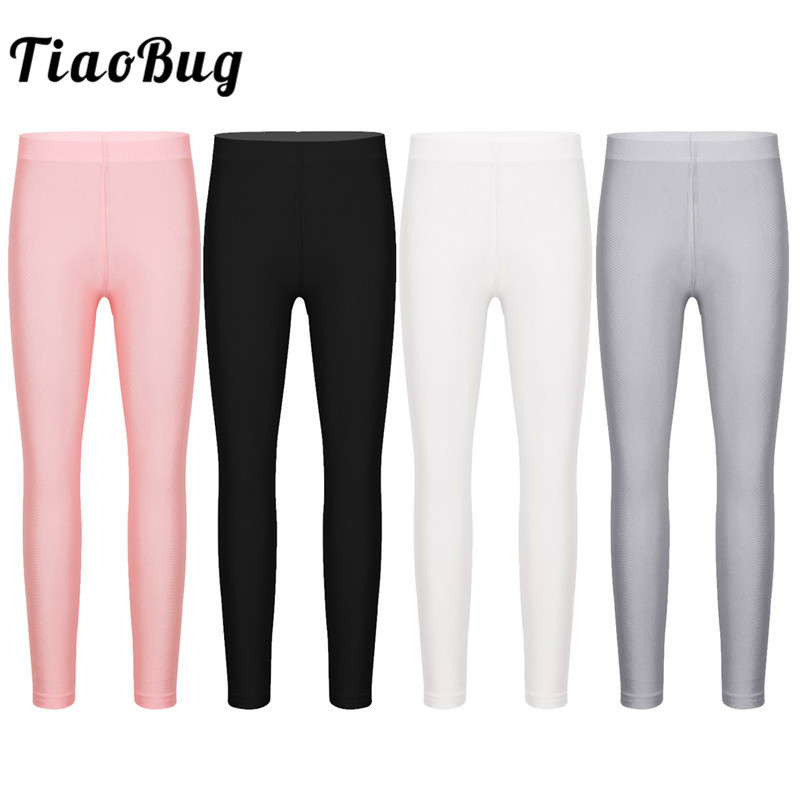 <font><b>TiaoBug</b></font> Kids Girls Solid Color Stretchy Seamless Leggings Tights Yoga Gymnastics Ballet Pants Children Dance Pantyhose Stockings image