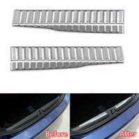YAQUICKA 2Pcs Set Car Trunk Door Rear Bumper Inner Sill Plate Protector Cover Trim For Alfa