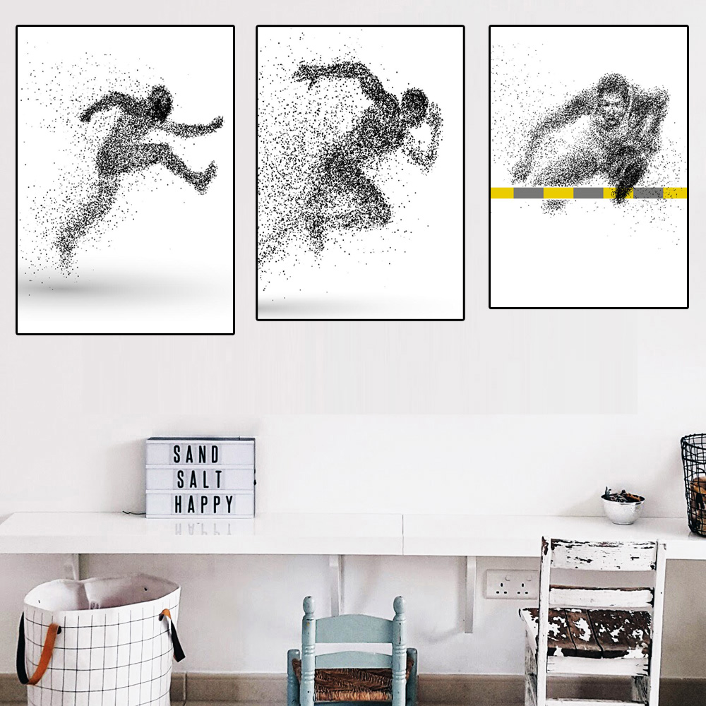 Vector Creative Abstract Portrait Posters And Prints Abstract Athlete Wall Black And White Point Art Pictures For Living Room ...