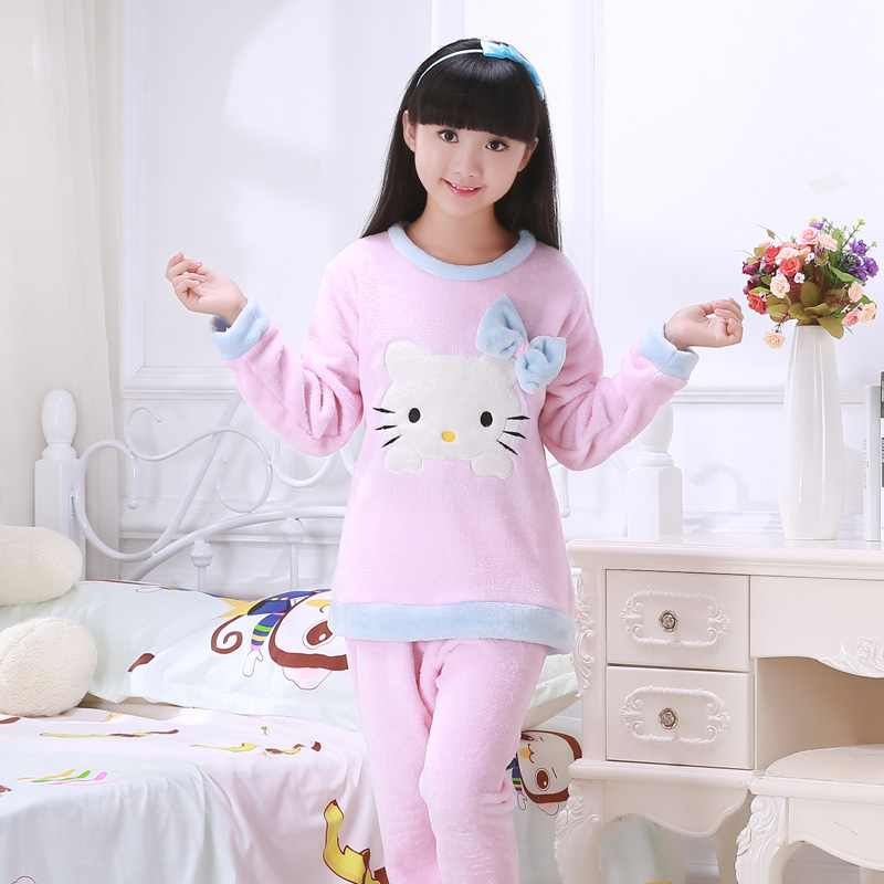 Winter Pajama Sets for girls Children Soft Fleece Pyjamas Baymax Flannel Sleepwear kids Warm Loungewear Coral Fleece Homewear цена