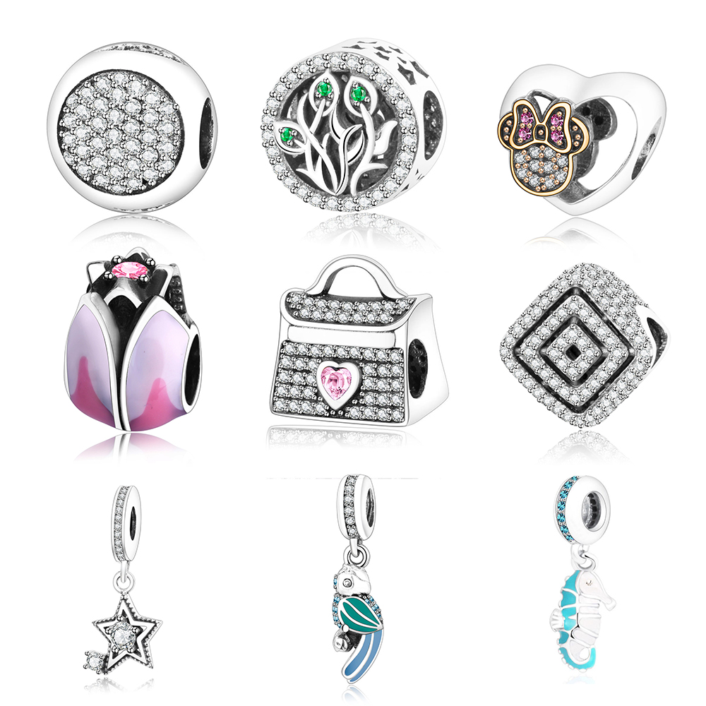2017 Summer Collection 925 Sterling Silver Beads Handbag Charms With Pink And Clear CZ Fits Original Pandora Charm Bracelet DIY