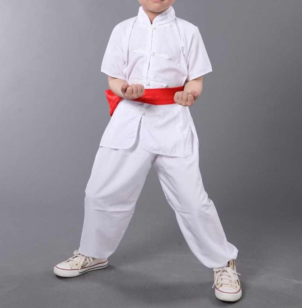 ユニセックス5色子供&キッズ&大人夏カンフー服太極拳スーツ半袖武道の制服