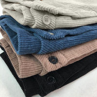 Corduroy Pants Womens Loose High Waist Ankle Length Pants Female Casual Streetwear Pockets Corduroy Pants Regular Solid Q1568