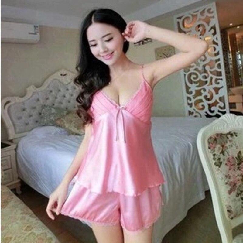 Summer Pajamas Sets Women Female Sleepwear Set Women Deep V-Neck Spaghetti Strap Sexy Shorts Nightwear Homewear DP804067