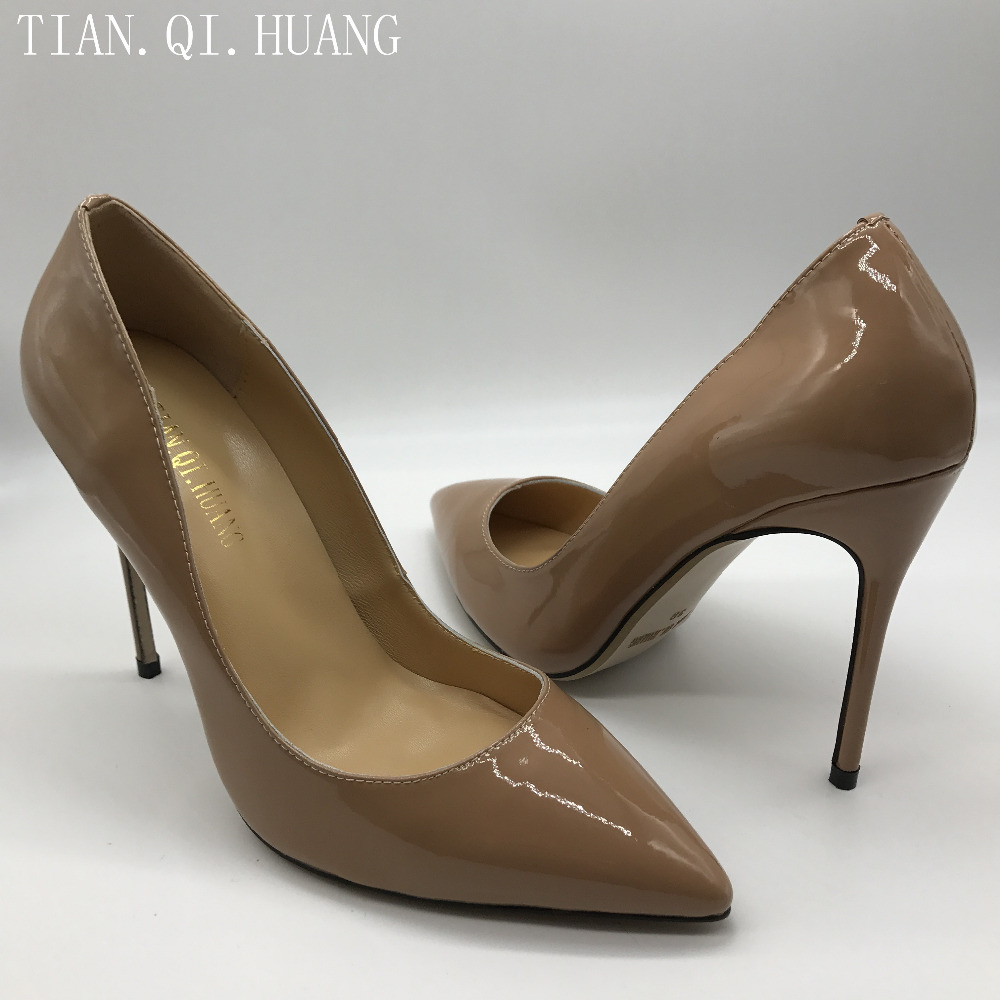Hot Sales Apricot Women Pumps Fashion Styles High Heels Shoes High Quality Genuine leather Casual Shoes