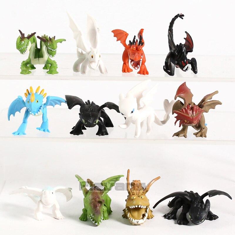 Como treinar seu dragão o mundo escondido desdentado night fury mini figuras de pvc dragão brinquedos conjunto