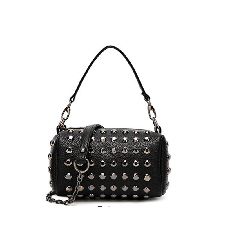 SUONAYI brand chain shoulder bag for women small handbag purse with rivets female tassel crossbody bags mini clutch silver Black in Top Handle Bags from Luggage Bags