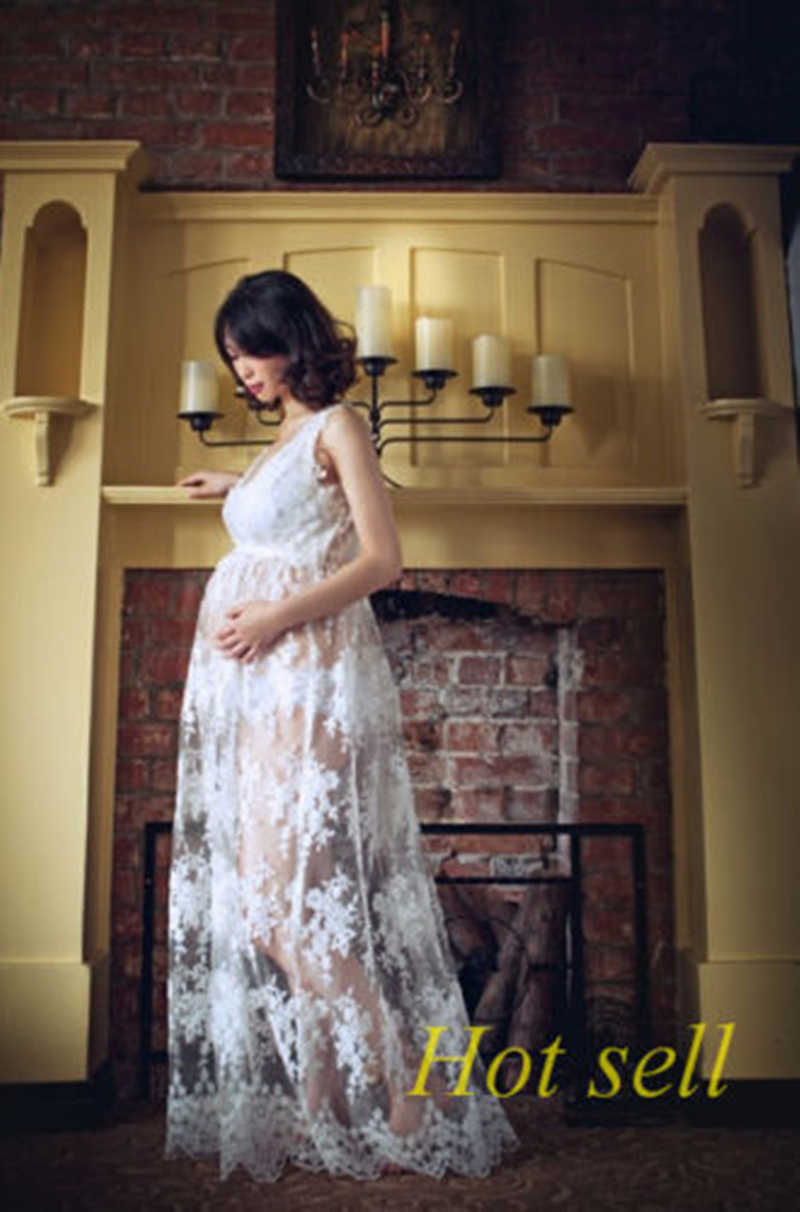 White Crochet Lace Maternity Photography Props Long Dress Off-the shoulder Summer Maternity Photo Shoot Maxi Gown Pregnant Dress