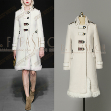 Fur Coat New Arrival Faux Slim Sale Mandarin Collar Embroidery Long 2016 New Winter Fashion Retro Lambswool Stitching Overcoat