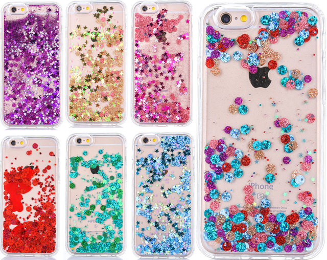 low priced 1cef3 05b05 US $2.63 |Luxury Flowing Liquid Phone Case for iPhone 8 7 7 Plus Sparkle  Quicksand Glitter Star Clear TPU Cover for iPhone 6 6S Plus-in Fitted Cases  ...