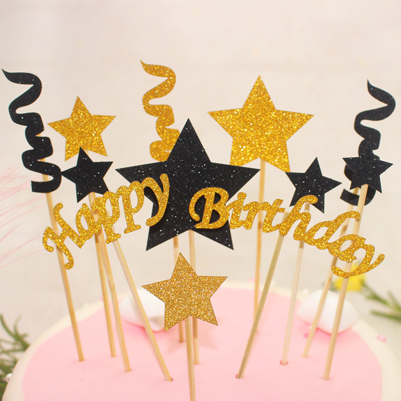 1 Set Happy Birthday Cake Toppers Black Gold Stars Cake Flag Stripe Birthday Wedding New Year