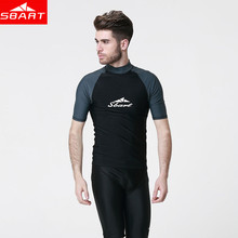 SBART Men lycra Surf Short Sleeve Rash Guard Anti-UV Quick Dry Surf-clothes Man Swimming Windsurf Diving T Shirt Plus Size 3XL J