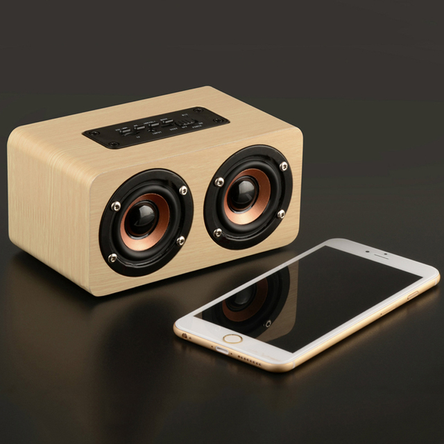 X5 Wooden Portable Bluetooth PC USB AUX Dual Speakers