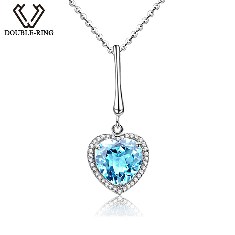 DOUBLE-R Romantic Solid 925 Silver Heart Pendant with Nature Blue Topaz Necklace With Silver Chain Genuine Gemstone Jewelry