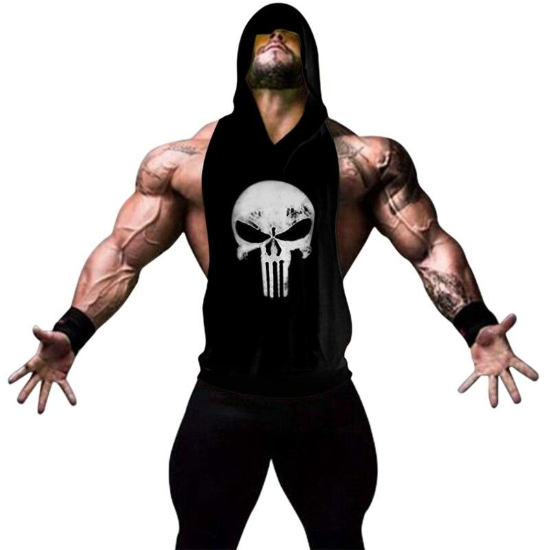 Hot Sale Gyms Clothing Tank Top For Men Stringer Skull Golds Bodybuilding Vest Fitness Workout Shirt Cotton Vest Hoodies Homme