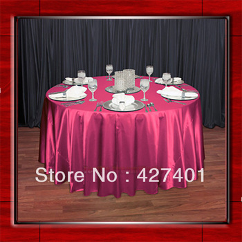 "Hot Sale Hot Pink 54"" round shaped poly satin table cloth/Tablecloths/Table overlay for wedding party decorating"