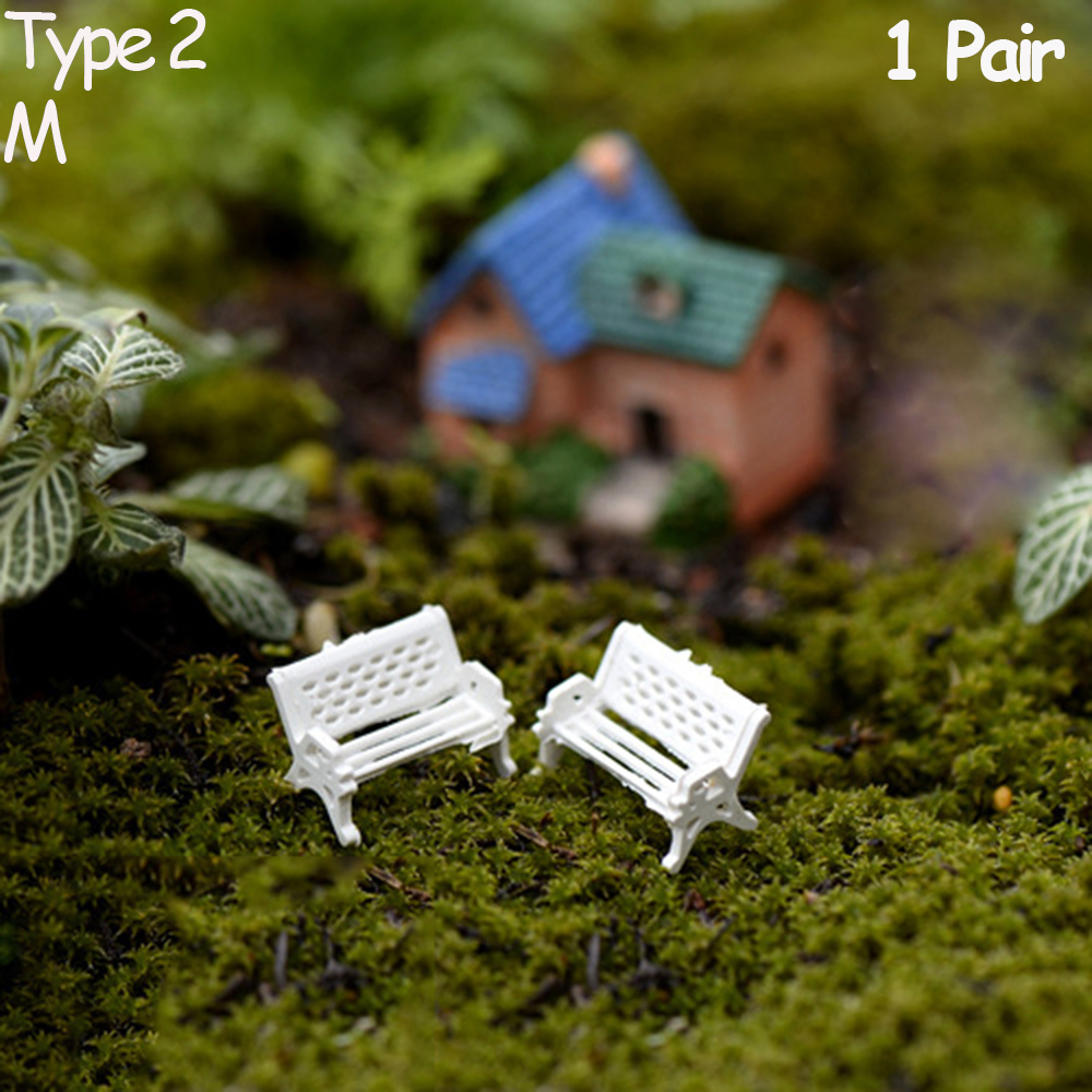 5pcs Garden Ornament Miniature Park Seat Bench Craft Fairy Dollhouse Decor UV