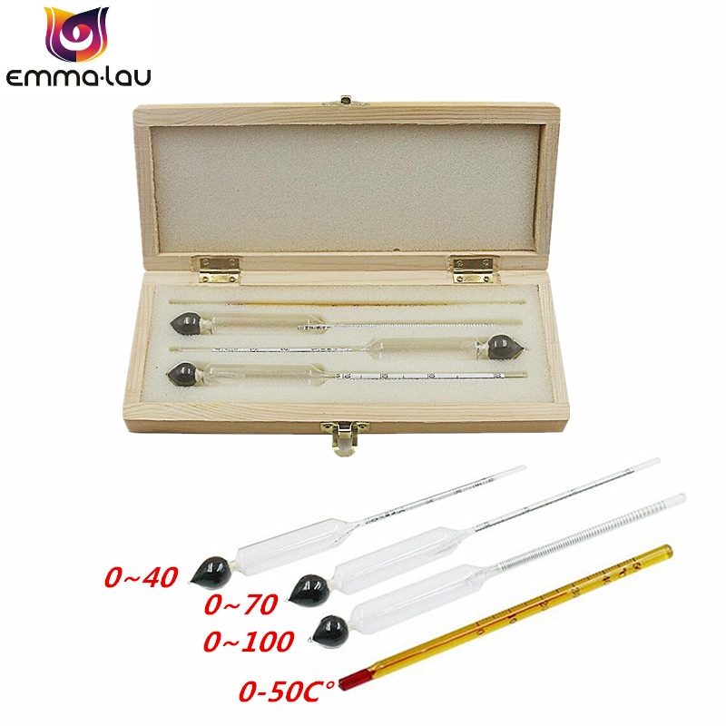 4Pcs/set 0-100% Alcoholometers Professional Wine Breathalyzer Alcohol Measurement Liquor Concentration Test Meter + Thermometer