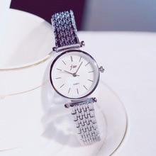 Simple Silver Stainless Steel Mesh Strap Women Watches Ultra-Thin Elegant Fashio