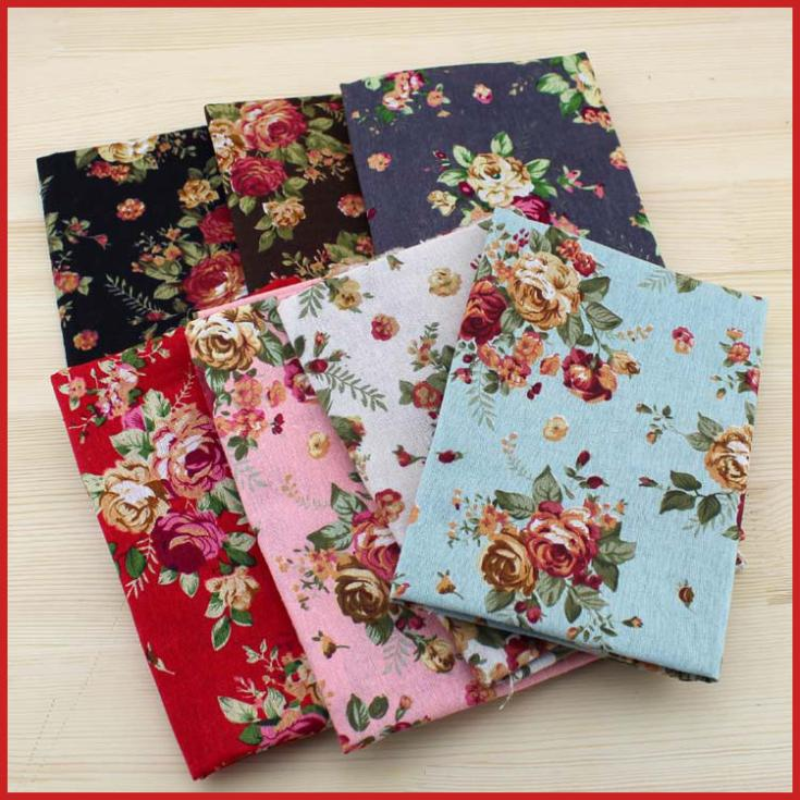 FREE SHIPPING 7pieces 70*50CM Flower fabric stash cotton fabric charm packs patchwork fabric quilting tilda no repeat design!
