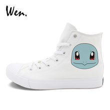 Wen Canvas Shoes Sport Sneakers Anime Pokemon Squirtle Skateboarding Shoes Man Woman Pocket Monster Design Footwear