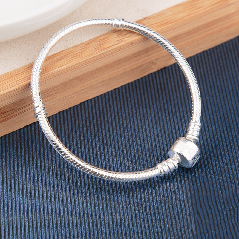 Classic 925 Sterling Silver Charm Chain Bracelet & Bangles For Women Fit Charms pan beads Original Jewelry Pulseira Gift