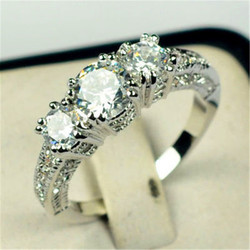 Bamos Luxury Female Girls White AAA Zircon Wedding Ring Silver Color CZ Stone Ring Promise Engagement Rings For Women