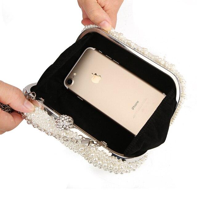 100% Hand made Luxury Pearl Clutch bags Women Purse Diamond Chain white Evening Bags for Party Wedding black Bolsa Feminina 4
