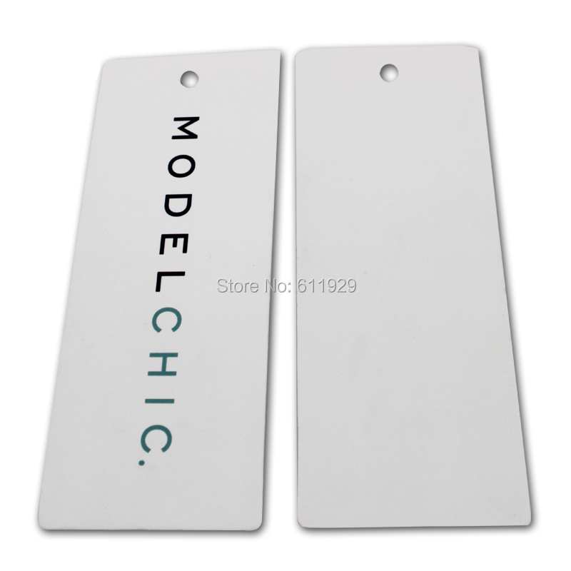 1000 pcs Customized 700gsm paper garment clothing bag hang tag swing tags labels thick laminated paper