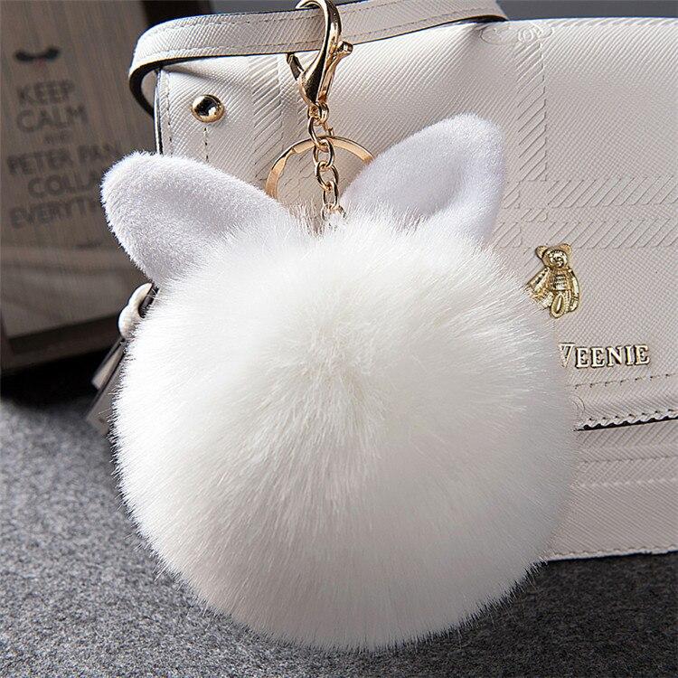 2017 Fur Pom Pom Keychain Fake Rabbit fur ball key chain porte clef pompom de fourrure pompon Bag Charms bunny keychain Keyring 38