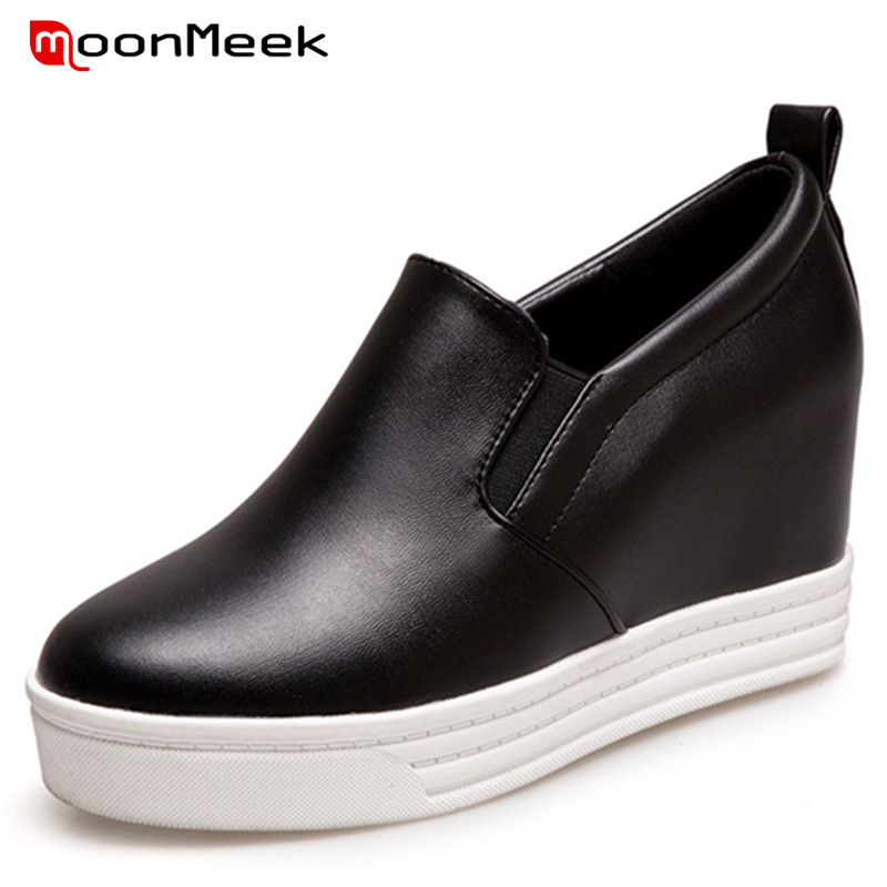 ФОТО MoonMeek Big size 34-43 height increasing loafers shoes woman solid PU platform shoes fashion comfortable women pumps