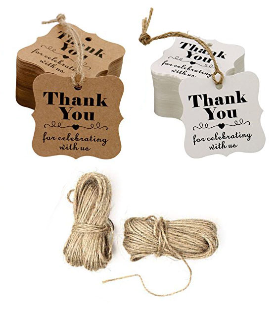 100pcs brown and white thank you paper tags with hole for wedding or party decoration gift tags and Packaging Hang Tags