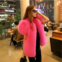 Women real fox fur vest female winter short sleeved o neck coat fox fur jacket fur waistcoat
