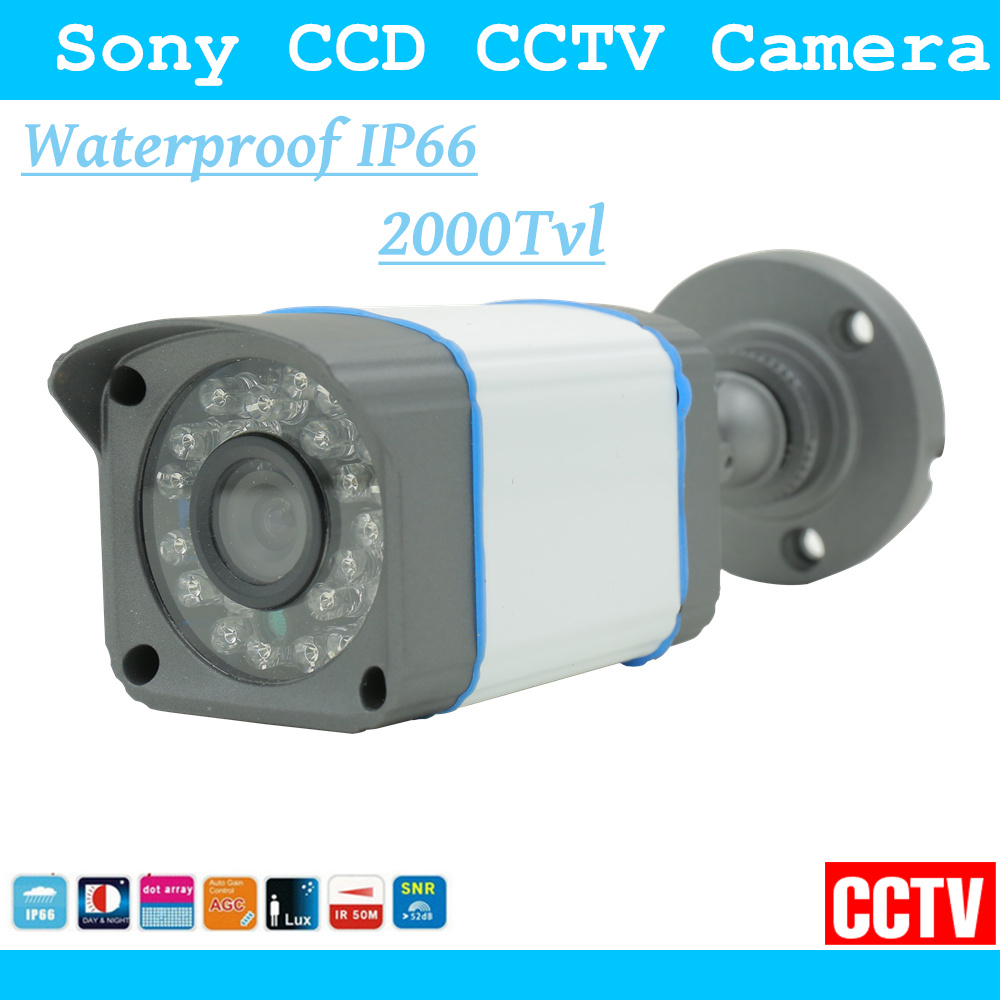1/3 Sony CCD 2000TVL Security Surveillance CCTV HD Camera Had IR Cut Default 6mm Lens Outdoor Weatherproof Day Night Vision hd 720p bullet surveillance cctv camera 2 8mm lens high resolution ir cut night vision weatherproof outdoor security camera