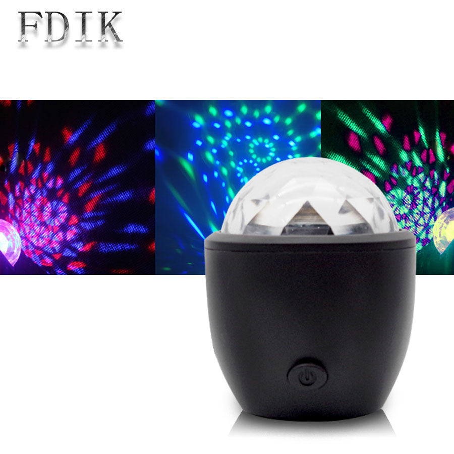 Sound Control LED Stage Lights DJ Crystal Ball Magic effect Multicolor USB Mini Disco Lamp Mood light for birthday Party Concert
