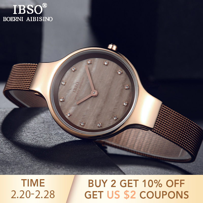IBSO Brand Luxury Shell Dial Female Watches Fashion Stainless Steel Mesh Strap