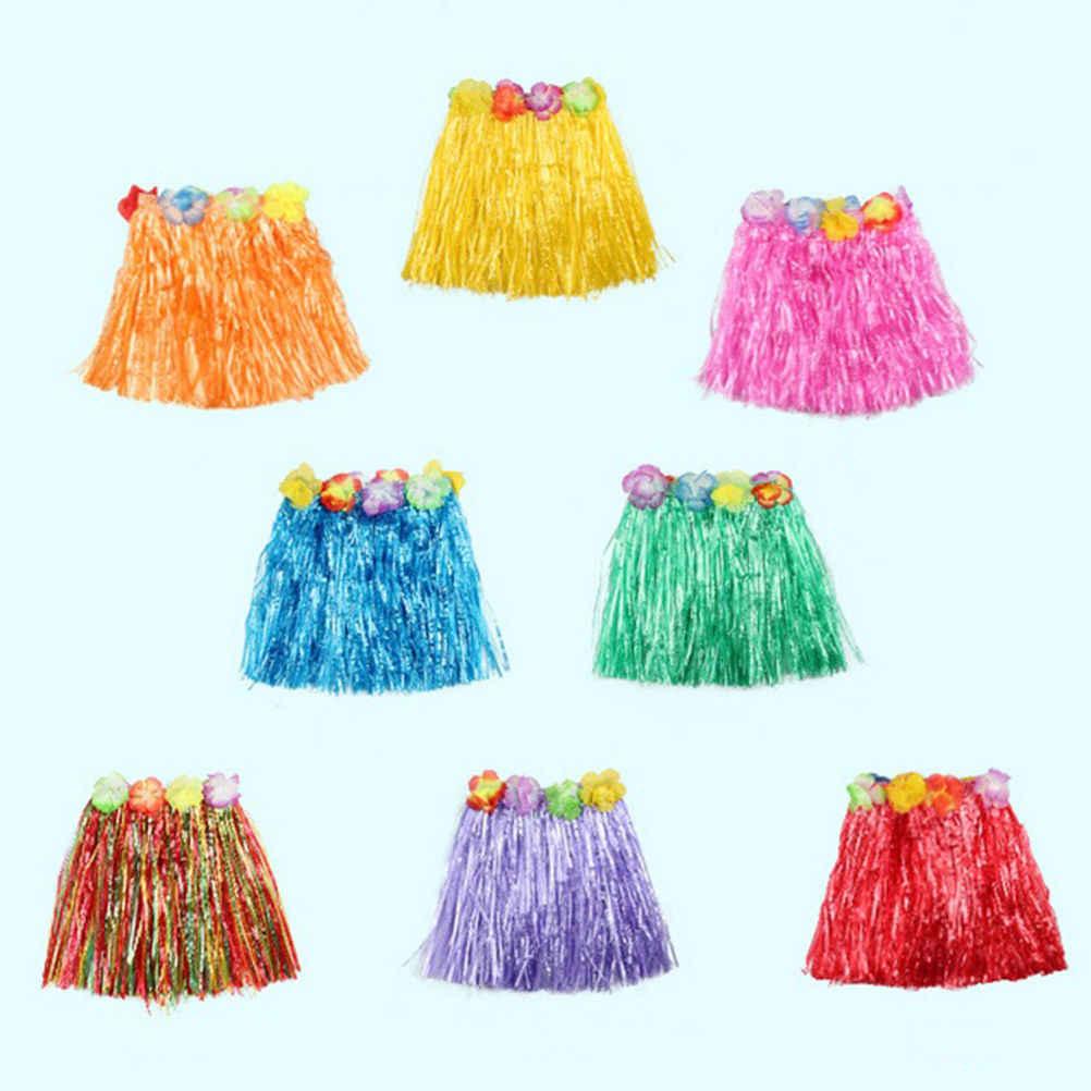 7cbf8d43d7ff7 1PCS Plastic Fibers Kid Grass Skirts Hula Skirt Hawaiian costumes 30CM Girl  Dress Up Party Supplies