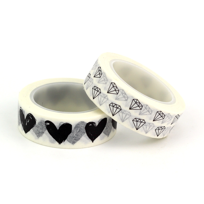 2pc Black White Heart Diamond Washi Tapes Japanese Paper DIY Planner Masking Tape Adhesive Tapes Stickers Decor Stationery Tapes