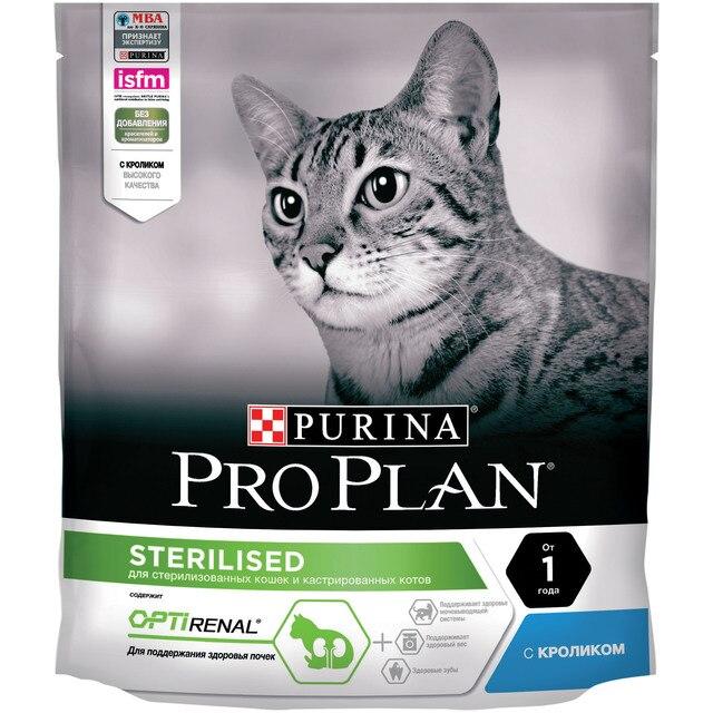 Сухой корм Purina Pro Plan для стерилизованных кошек и кастрированных котов, с кроликом, Пакет, 400 г