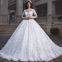 Glamorous с длинным рукавом 2019 Свадебные платья Кружева бальное платье Люкс носит Vestidos индивидуальный заказ Бисер аппликации официальная Вечер