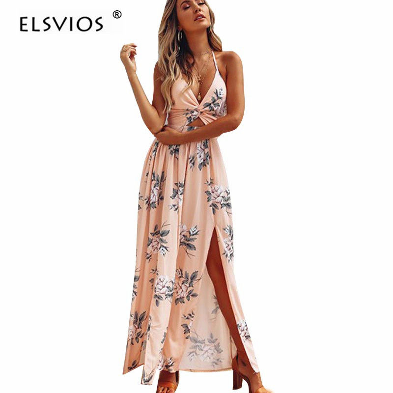 822e101538a2a ELSVIOS Women Sexy Strapless Floor-Length dress Floral printed Boho Dress  Ladies waist wrapped 2017 Summer Maxi Dress vestidos