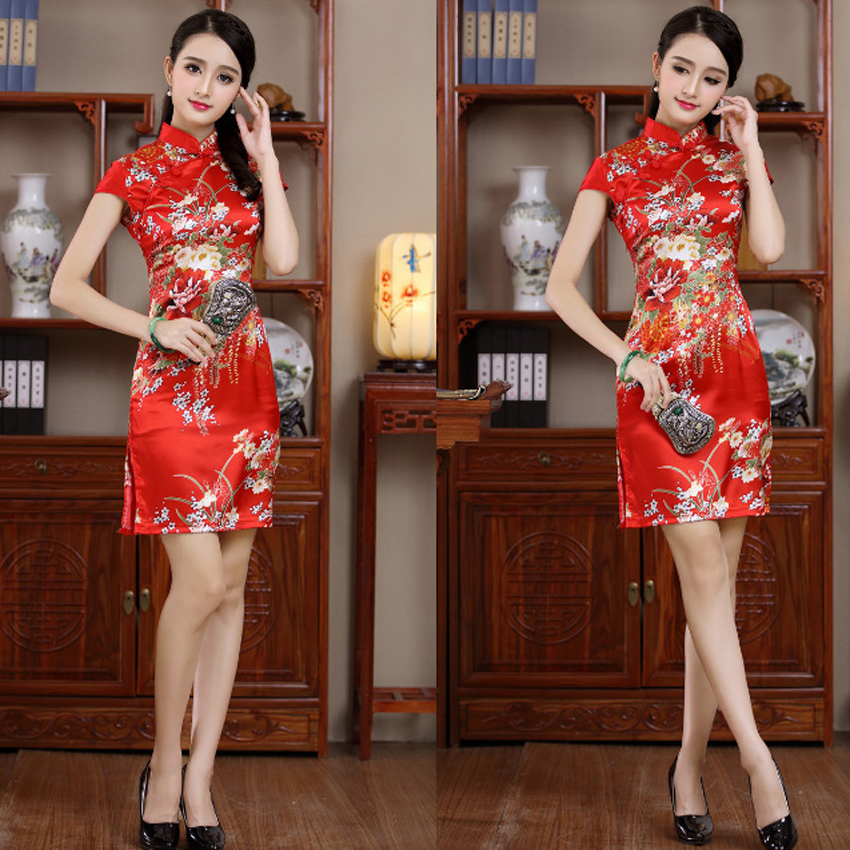Women Red Chinese Silk Satin Traditional Cheongsams Floral Short Wedding Spring Festival Costumes Robe Qipao Hanfu Tang Suit