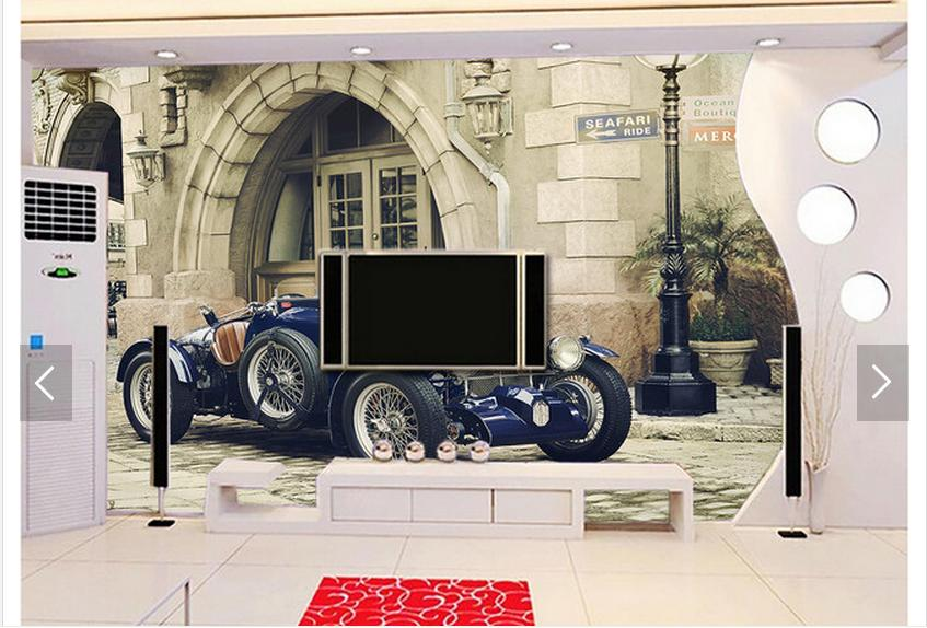 Customized 3d photo wallpaper 3d wall mural wallpaper European car setting wall is resto ...