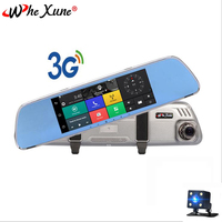 WHEXUNE Car DVR 7 inch IPS Touch 3G Mirror DVR Android GPS Full HD 1080P WIFI auto registrar rear view mirror with camera