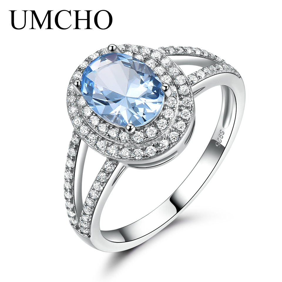 UMCHO Genuine 925 Sterling Silver Rings for Women Luxury Blue Topaz Gemstone Ring Engagement Party Cocktail Custom JewelryUMCHO Genuine 925 Sterling Silver Rings for Women Luxury Blue Topaz Gemstone Ring Engagement Party Cocktail Custom Jewelry