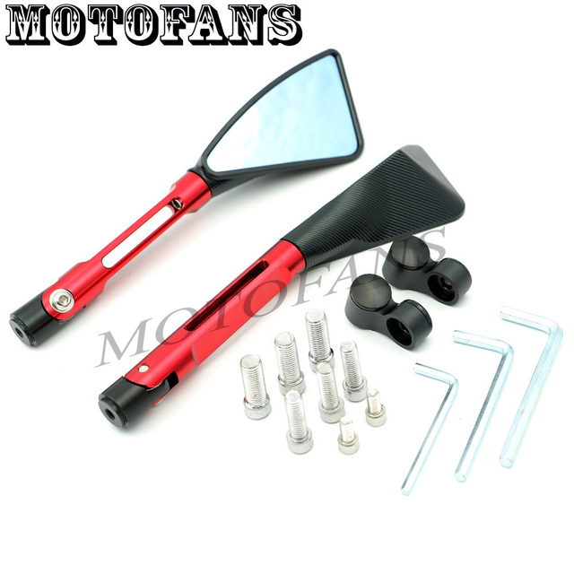 Motofans - New Universal Side Rear Mirror Rearviews CNC Stem Plastic Head Case for Honda CB 600F 1000R 1300 CBF 125 600 CBR 125R