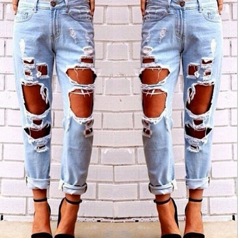 2017 Ripped Hole Jeans for Women Distressed Ripped Jeans Light Blue Denim Pants boyfriend jeans for