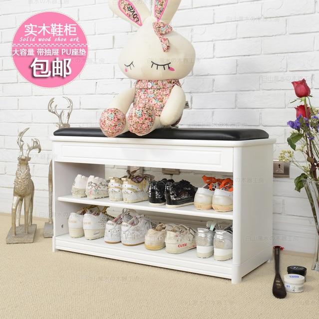 Hot IKEA Wood Paint Modern Minimalist Foyer Shoe Shoe Rack Simple Shoe  Cabinet Drawer PU Cushion