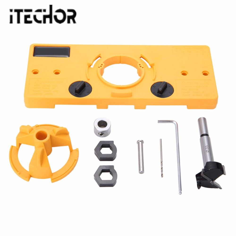 iTECHOR  High Quality 35MM Woodworking DIY  Hand Tools Set  for Hinge Hole Locator Jig Drill Guide 4 self centering hinge hardware drill bit set pilot hole f hinges drawer guides home hand tools