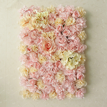 40x60cm Artificial Flower Panels Wedding Decoration Backdrop Champagne Silk Rose Fake Flowers Hydrangea Wall 20pcs